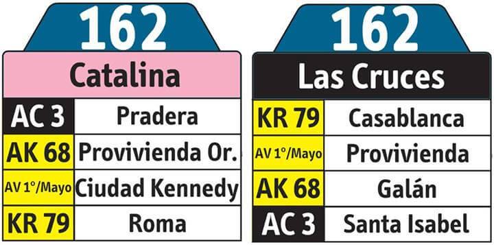 tabla de ruta 162 del SITP