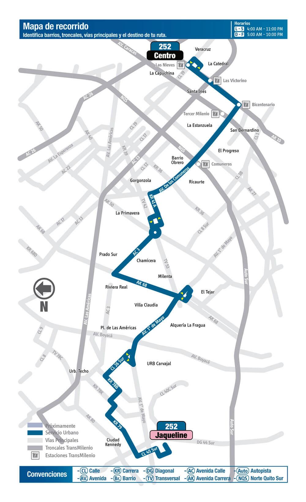 Mapa de la ruta 252 del SITP bogota