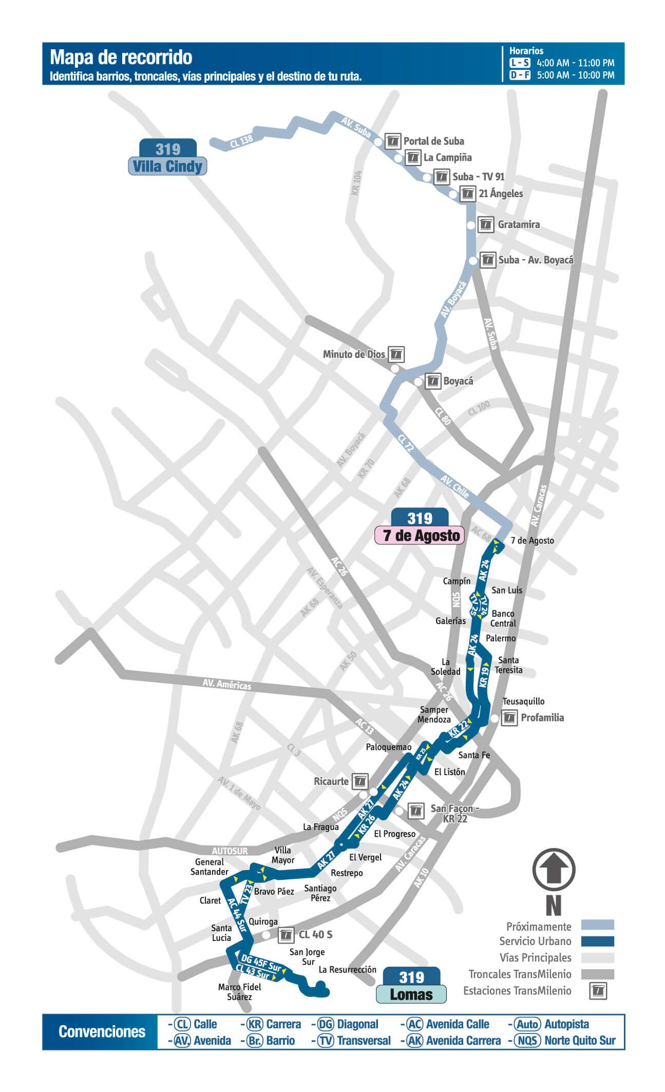 Mapa de la ruta 319 del SITP bogota