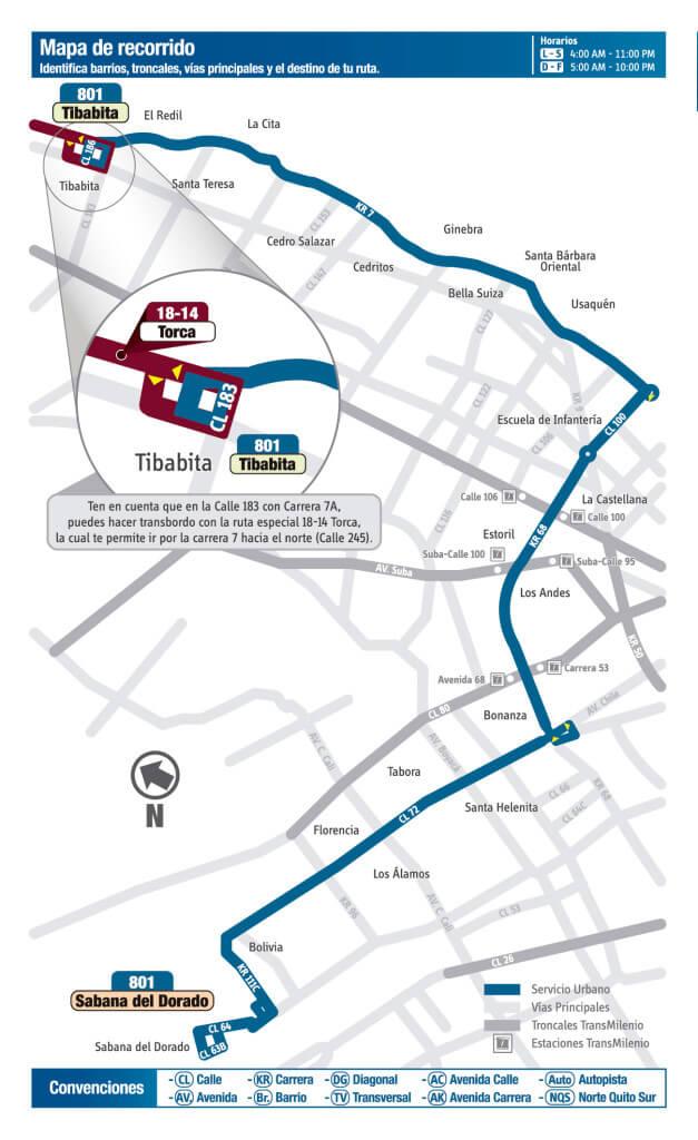 Mapa de la ruta 801 del SITP