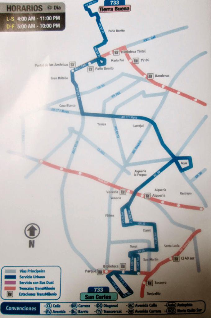 Tabla de la ruta 733 del SITP