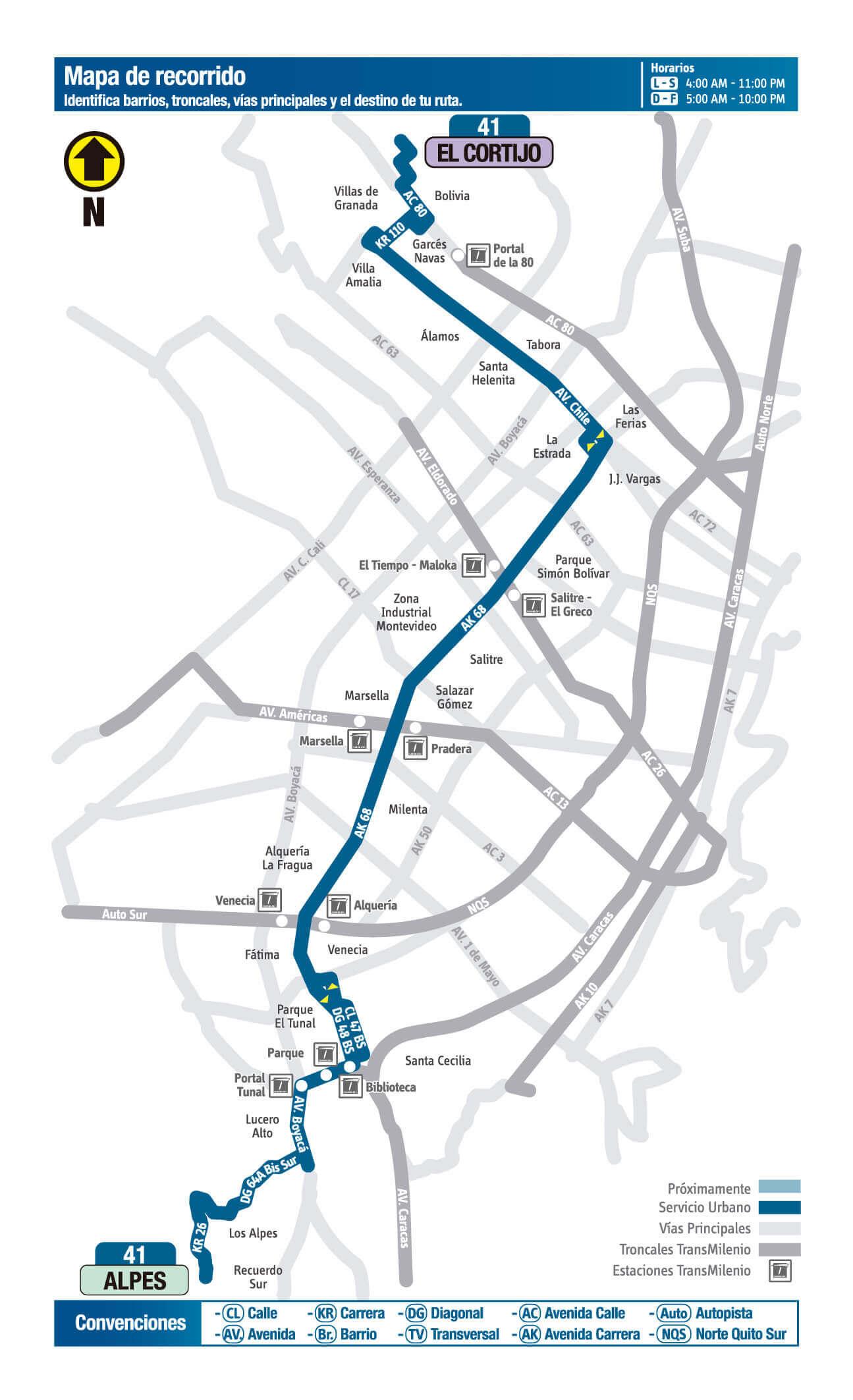 mapa de la Ruta 41 SITP