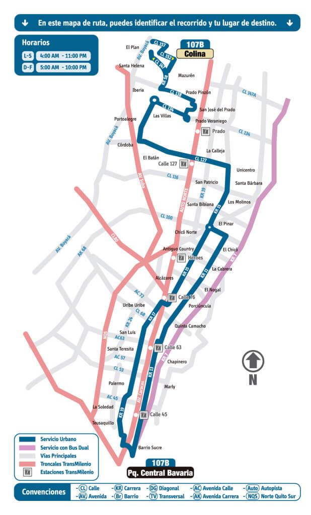 mapa de la ruta 107B del SITP