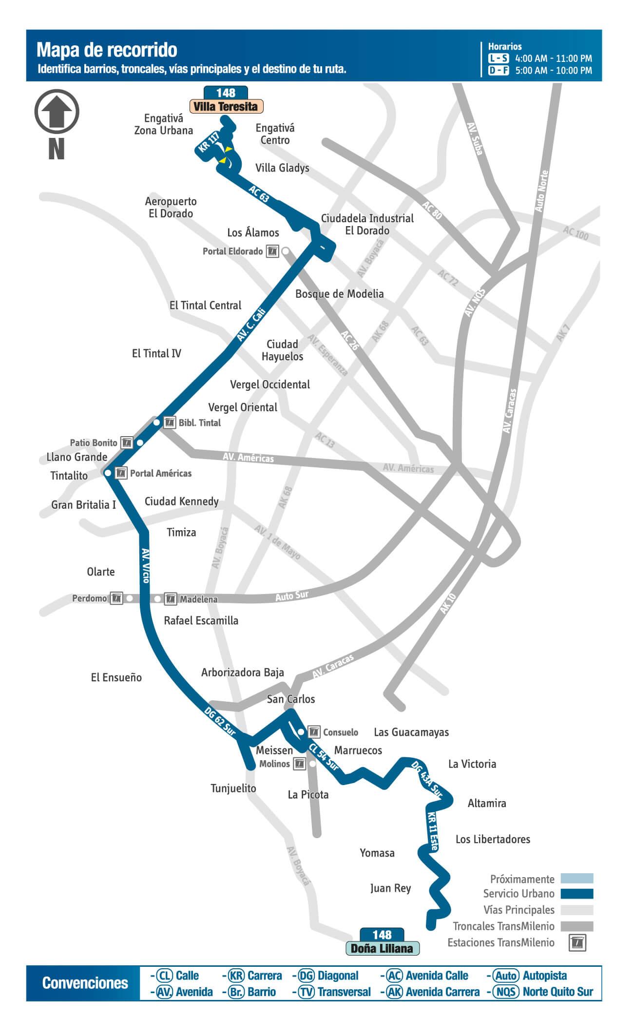 mapa de la ruta 148 del Sitp de bogota