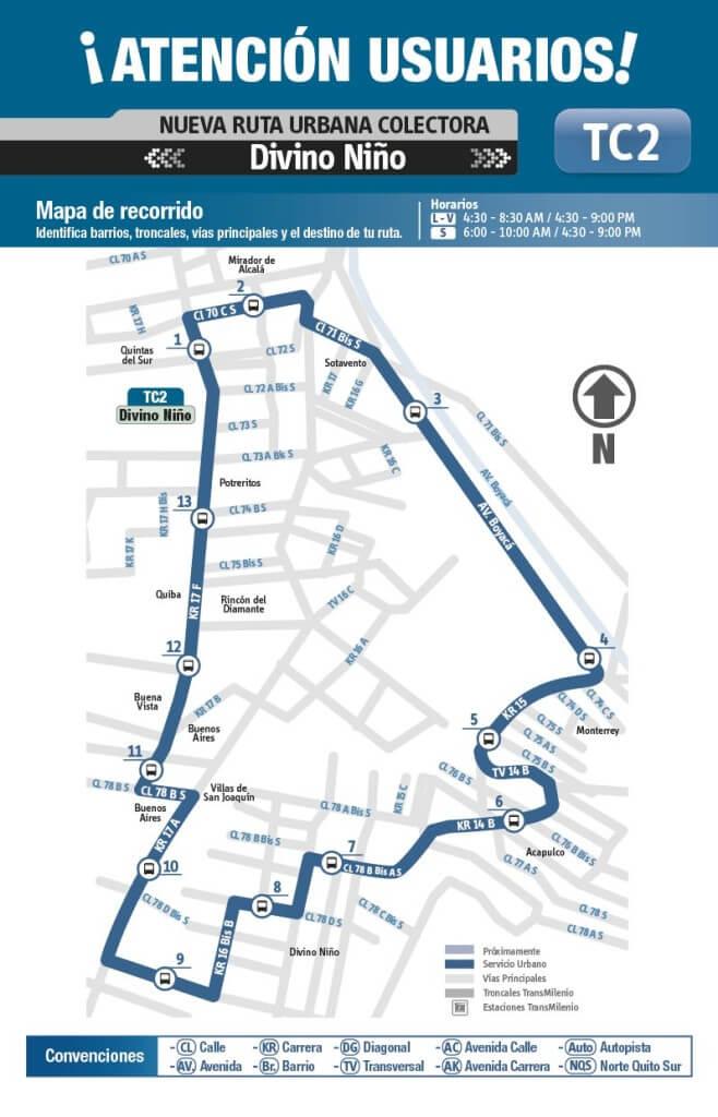 mapa de la Ruta TC2 SITP