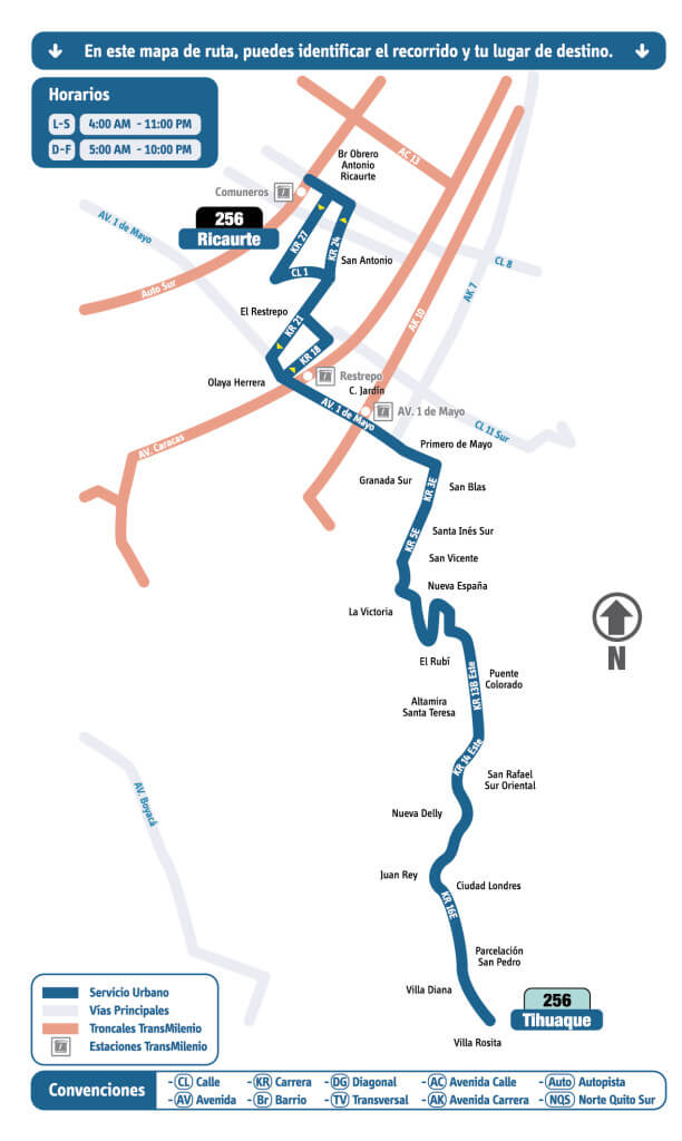 mapa de la ruta 256 del SITP