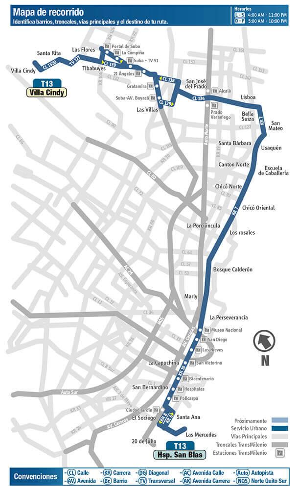 Mapa de la Ruta T13 del SITP