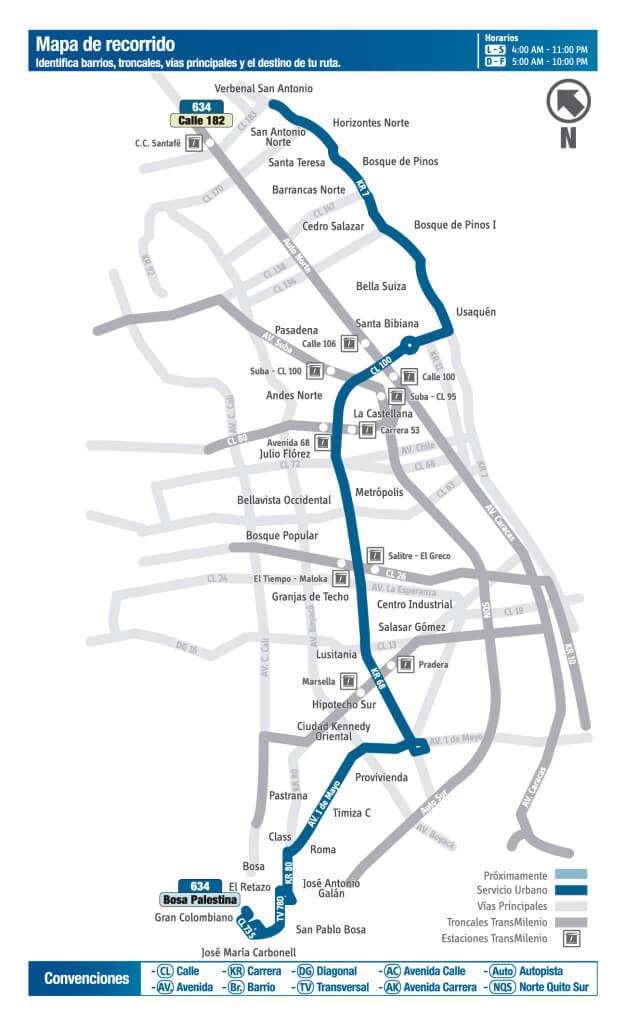 Mapa de la Ruta 634 del SITP