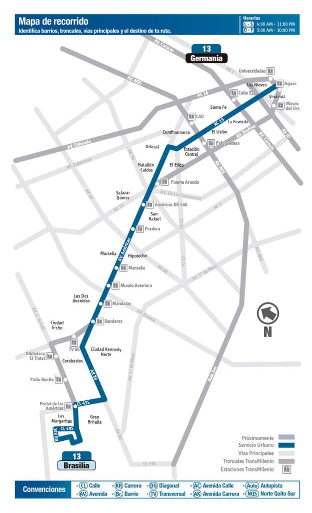 Mapa de la ruta 13 del SITP