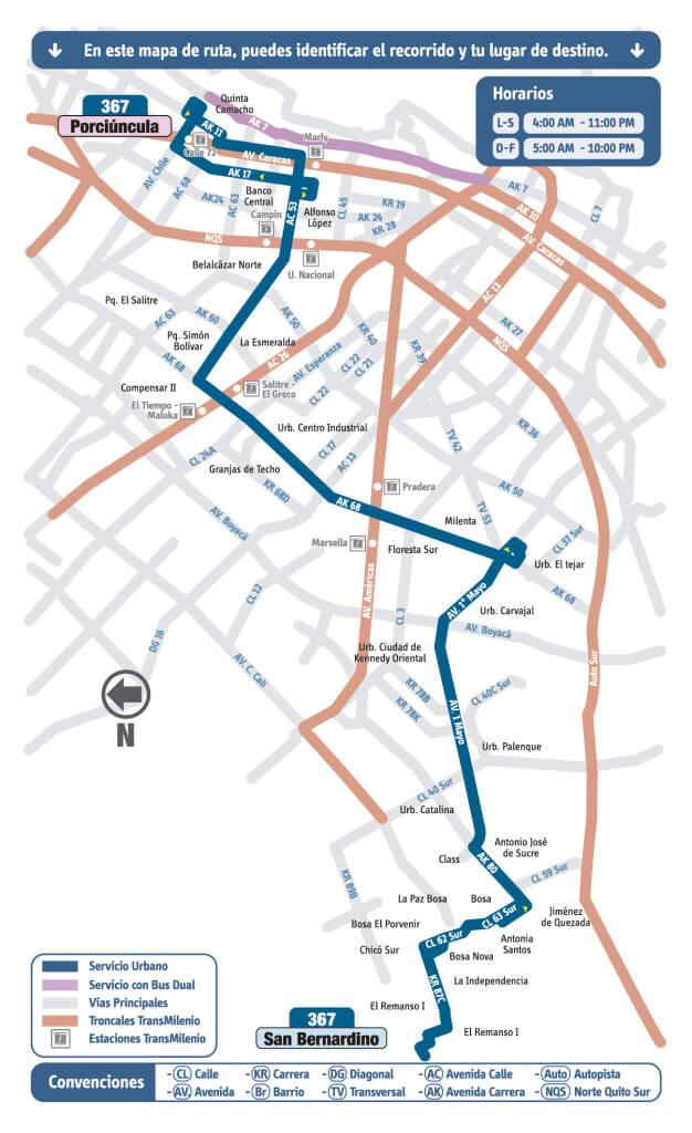 mapa de la ruta 367 del sitp