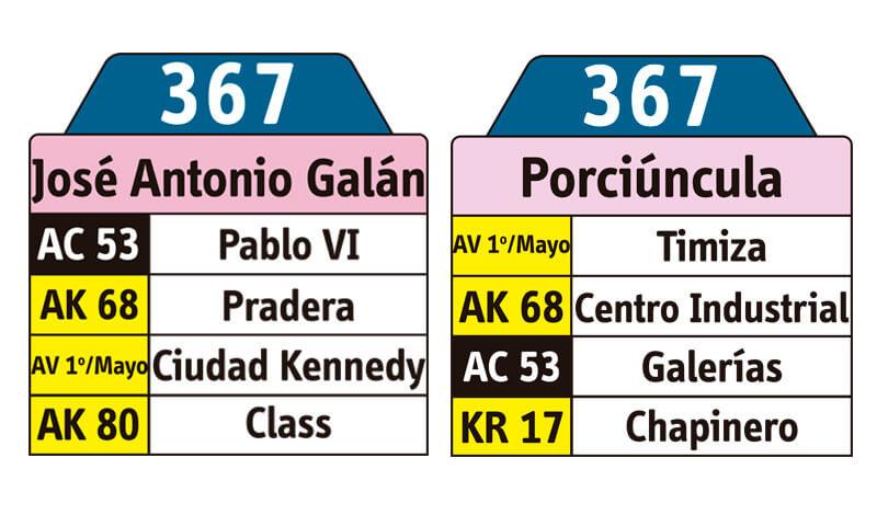 tabla de la ruta 367 del SITP