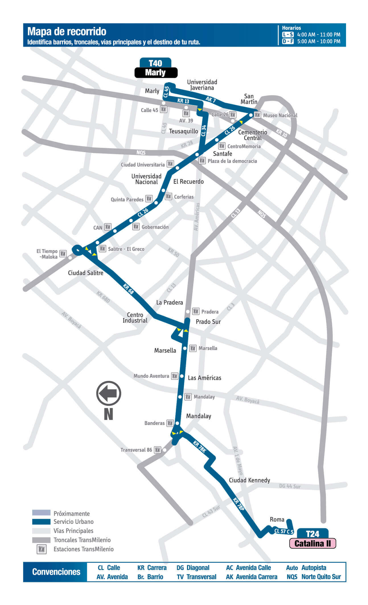 Mapa de la Ruta T40 del SITP