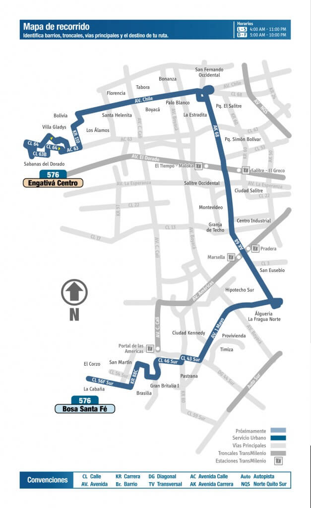 Mapa de la ruta 576 del SITP