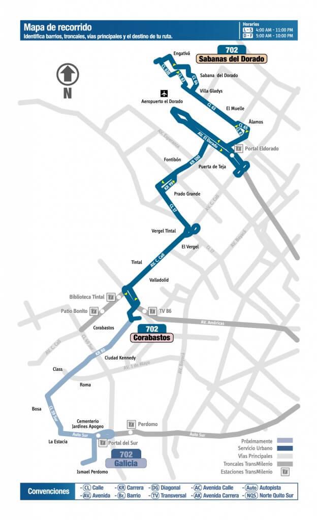 Mapa de la ruta 702 del SITP
