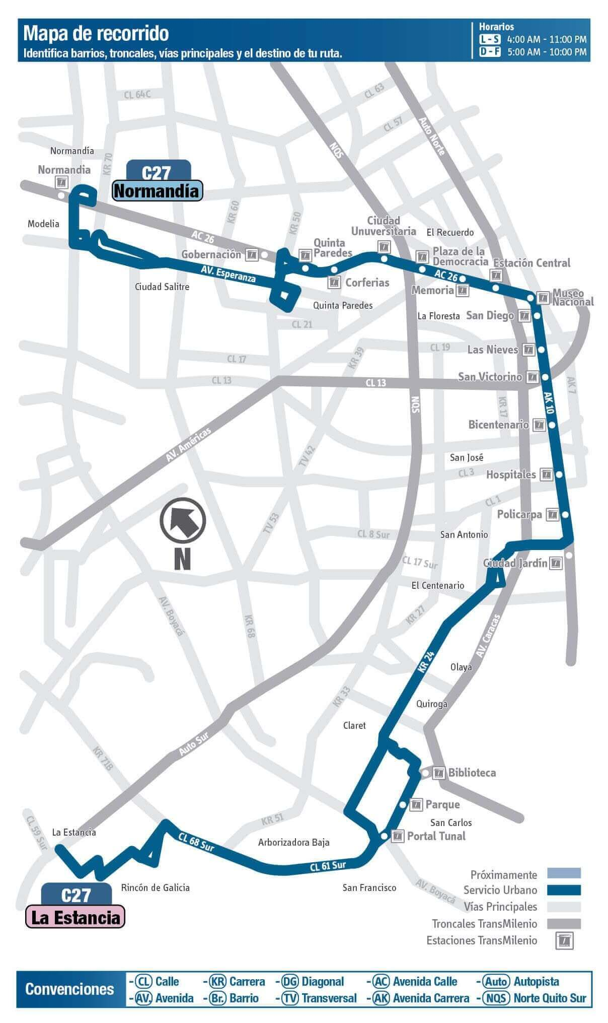 Mapa de la ruta C27 del SITP