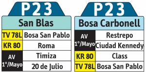 Tabla de la ruta P23 del SITP