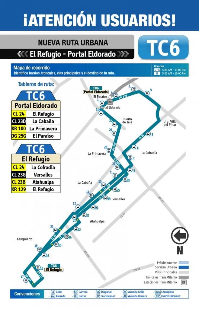 Mapa de la Ruta TC6 del SITP