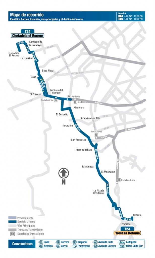 Mapa de la ruta T24 del SITP