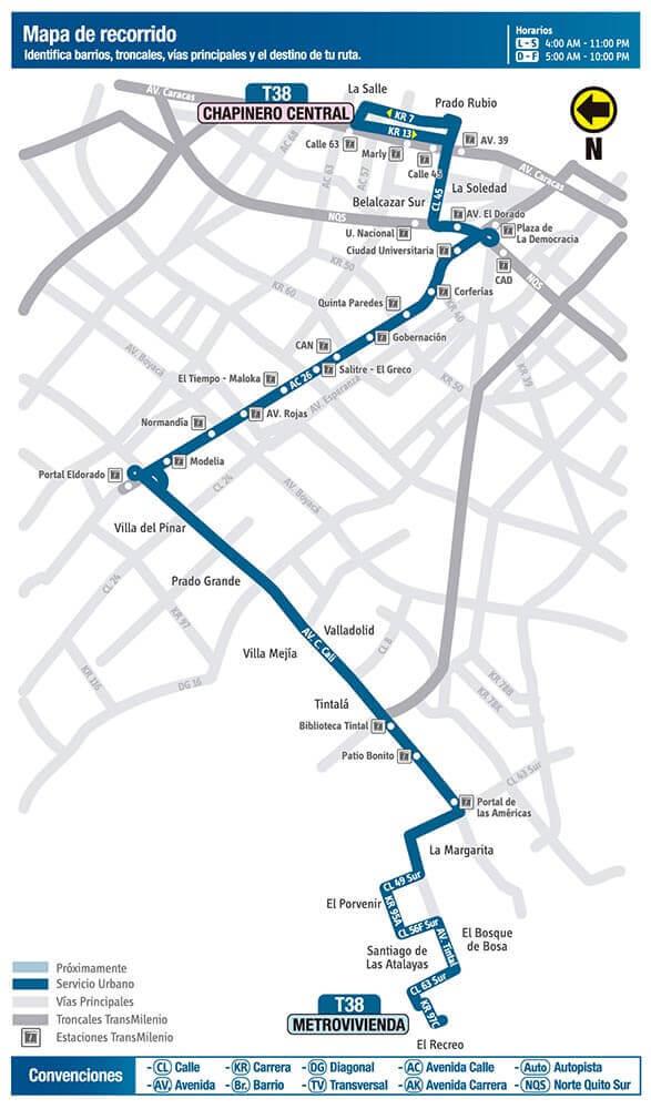 Mapa de la ruta T38 del SITP