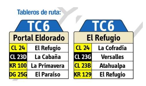 Tabla de la ruta TC6 del sitp