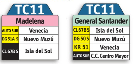 tabla de la ruta TC11del sistema integrado de transporte SITP