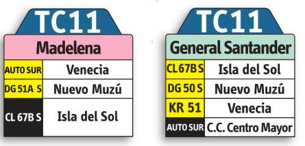 tabla de la ruta TC11del sistema integrado de transporte SITP