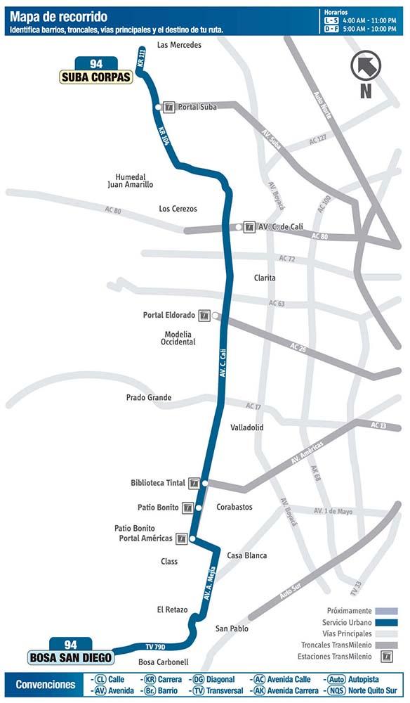 Mapa de la Ruta 94 sitp