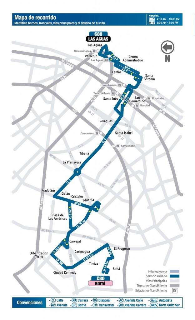 Mapa de la ruta C80 del SITP