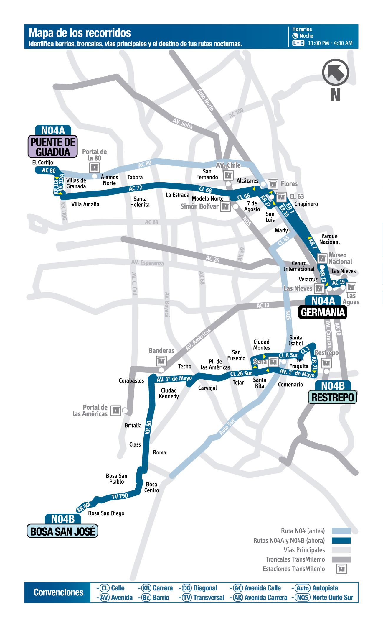 Mapa de la ruta N04A del sitp