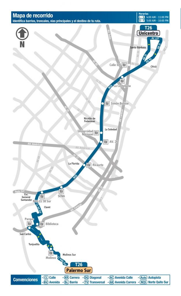 Mapa de la ruta T26 del SITP