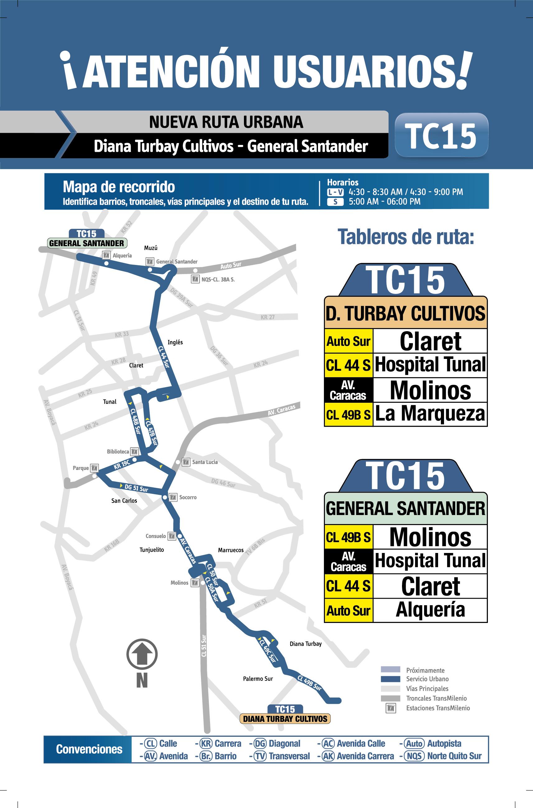 Mapa de la ruta TC15 del SITP