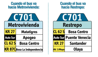 Tabla de la Ruta C701 del Sistema integrado de transporte de Bogotá