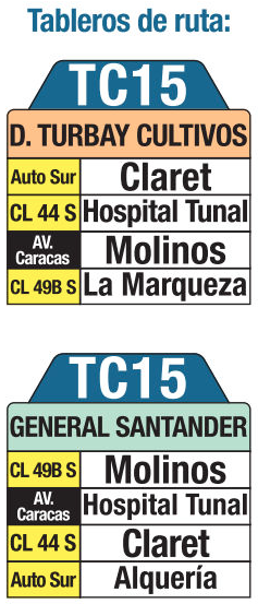 Tabla de la ruta TC15 del sistema integrado de transporte SITP