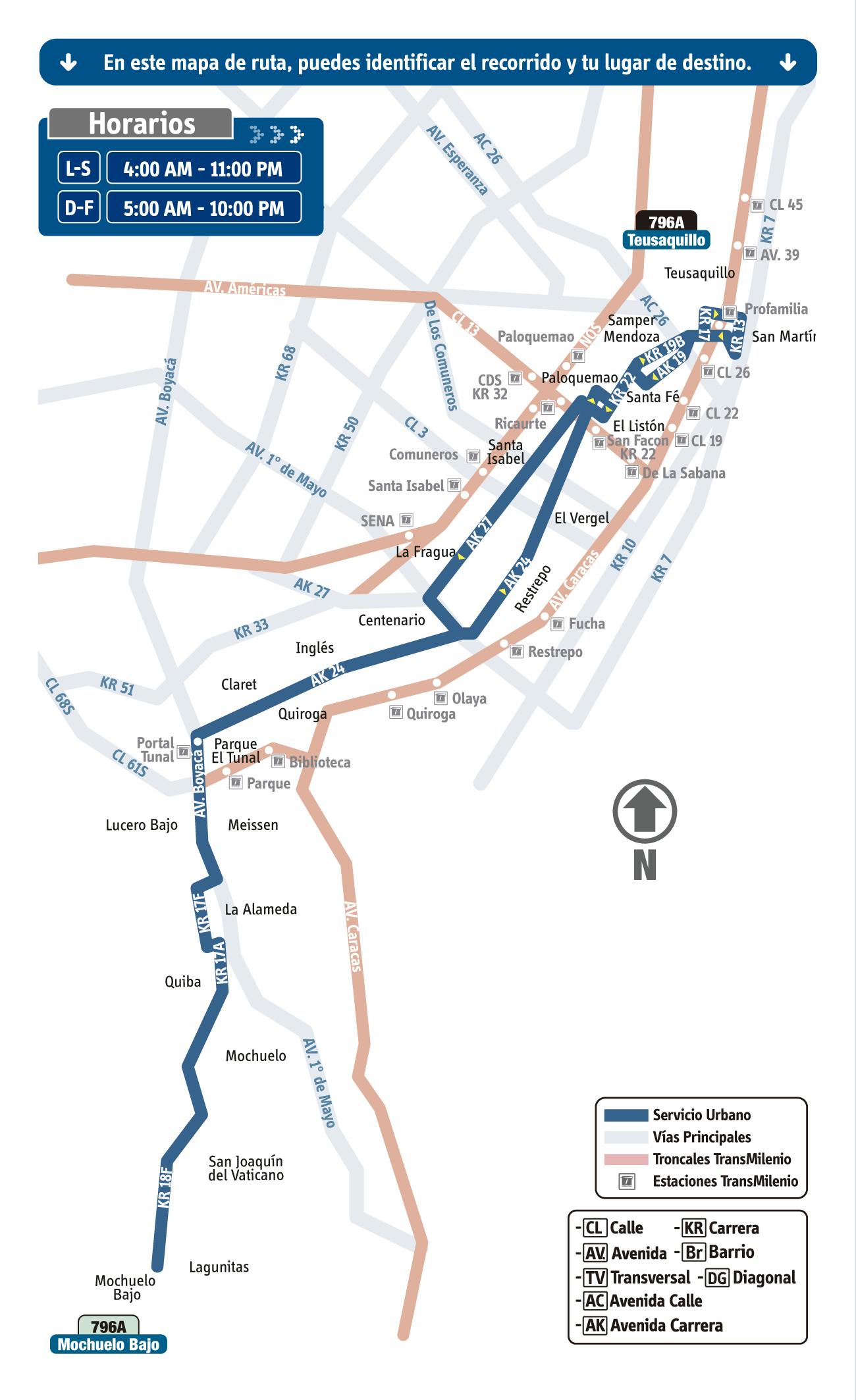 Mapa de la Ruta 796A del SITP