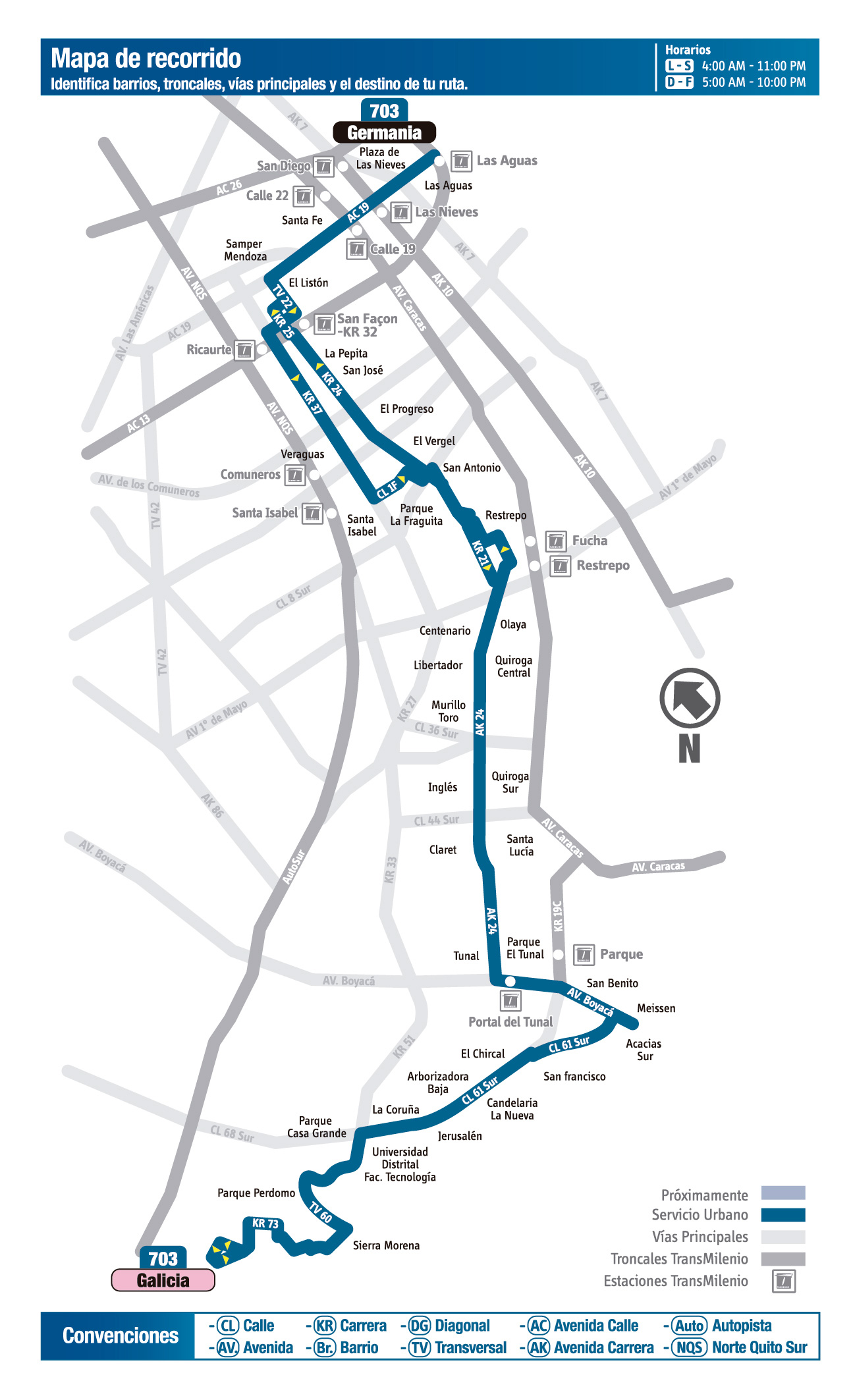 Mapa de la ruta 703 del SITP
