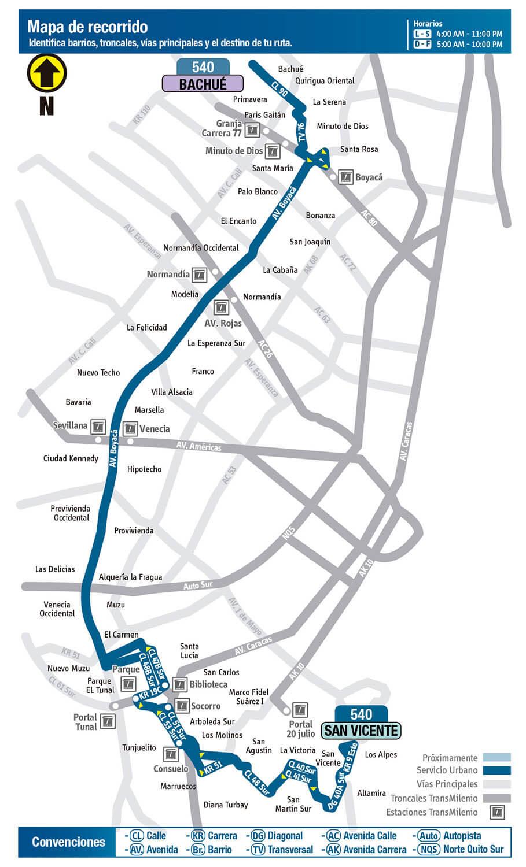Mapa de la Ruta 540 SITP