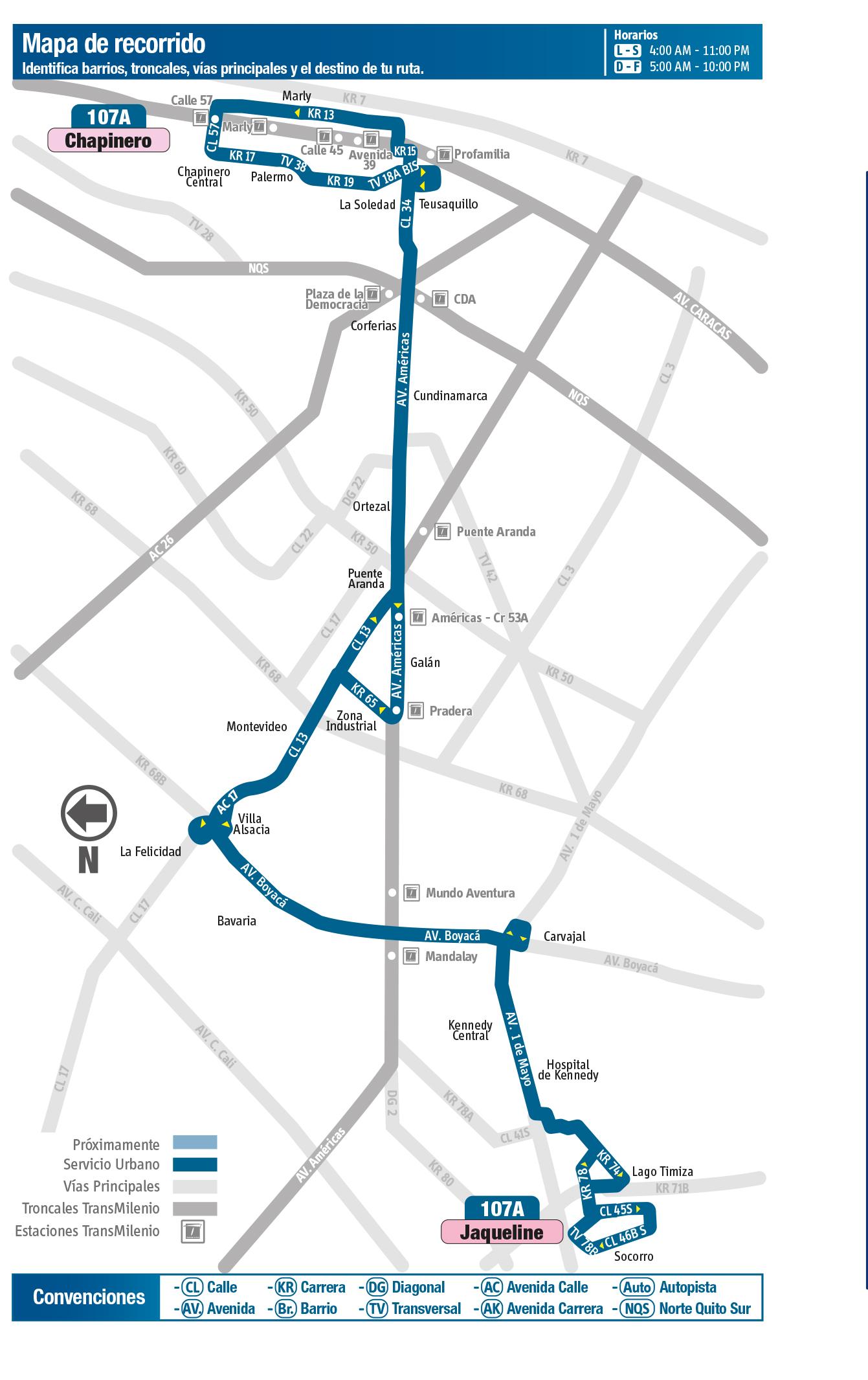 Mapa de la ruta 107 del SITP