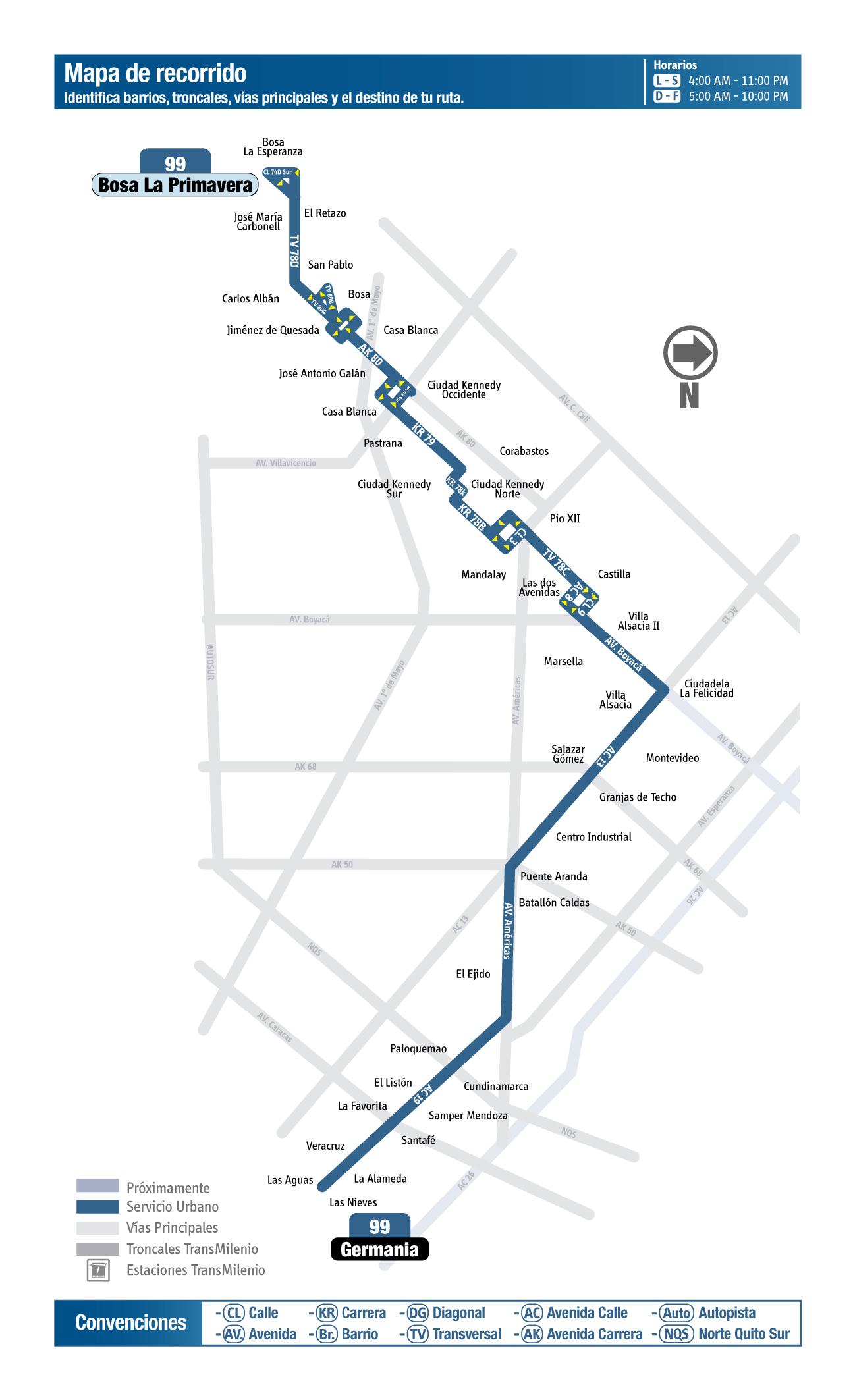 Mapa de la ruta 99 del SITP