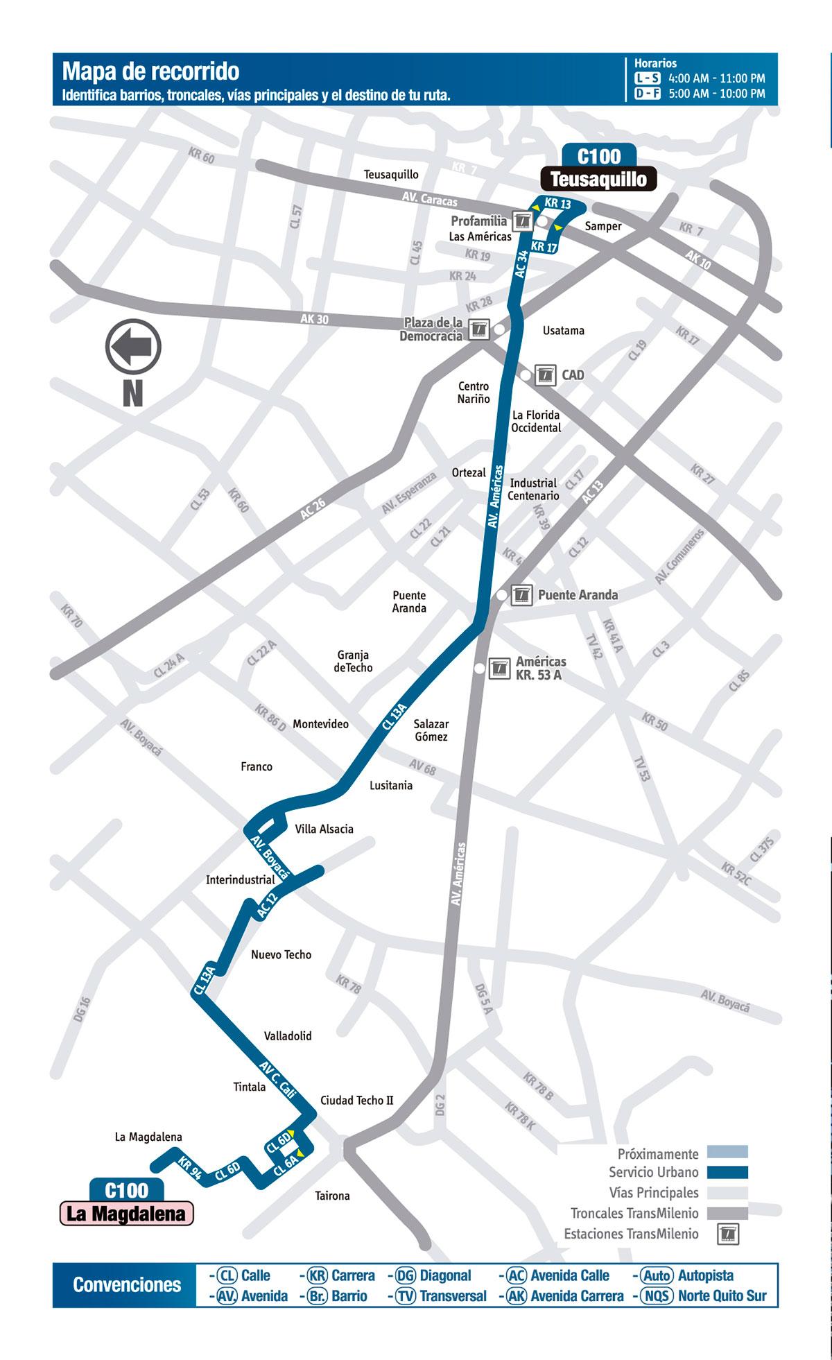 Mapa de la ruta C100 del SITP