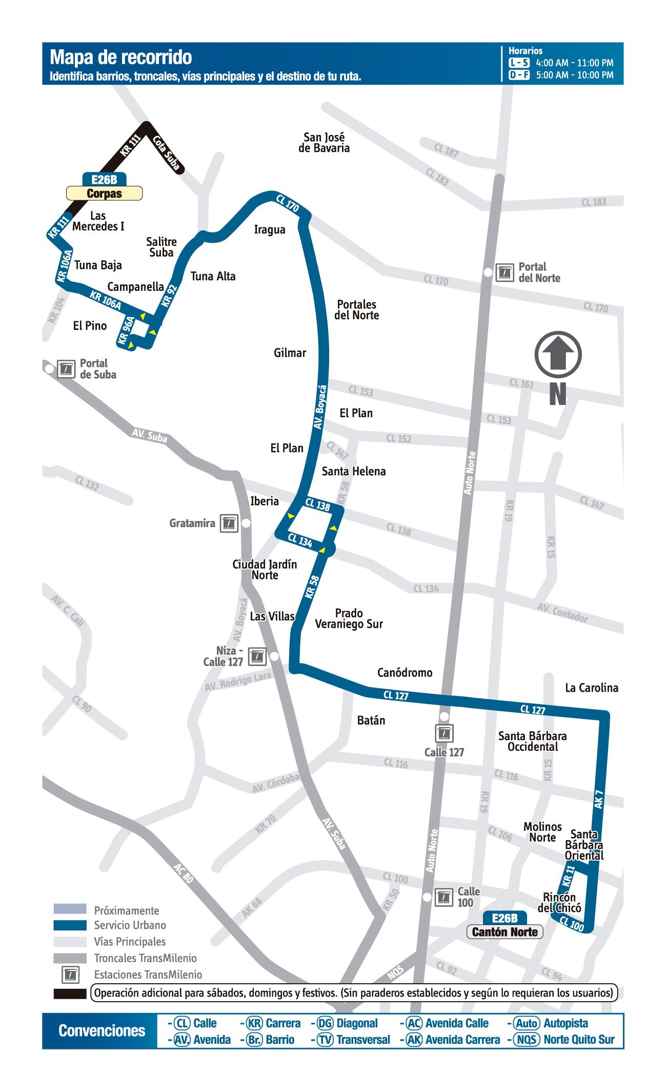 Mapa de la ruta E26B del SITP