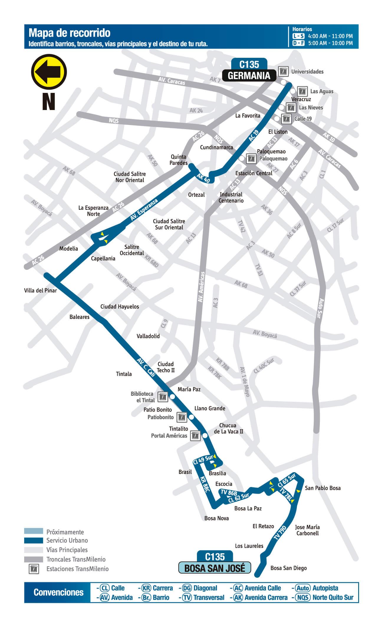 mapa de la Ruta C135 Sitp
