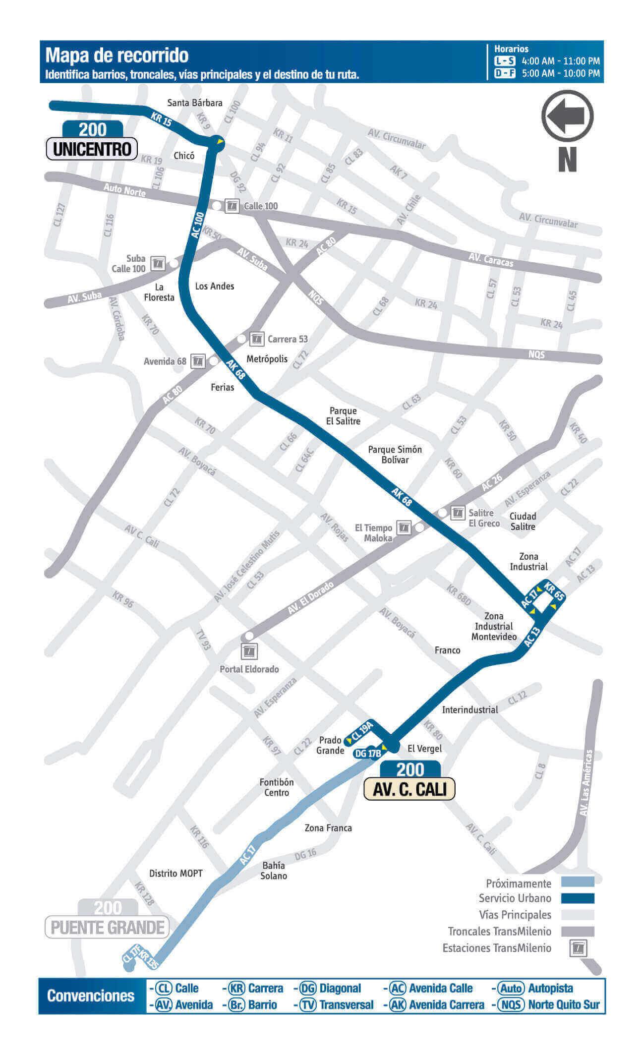 mapa de la ruta 200 del SITP