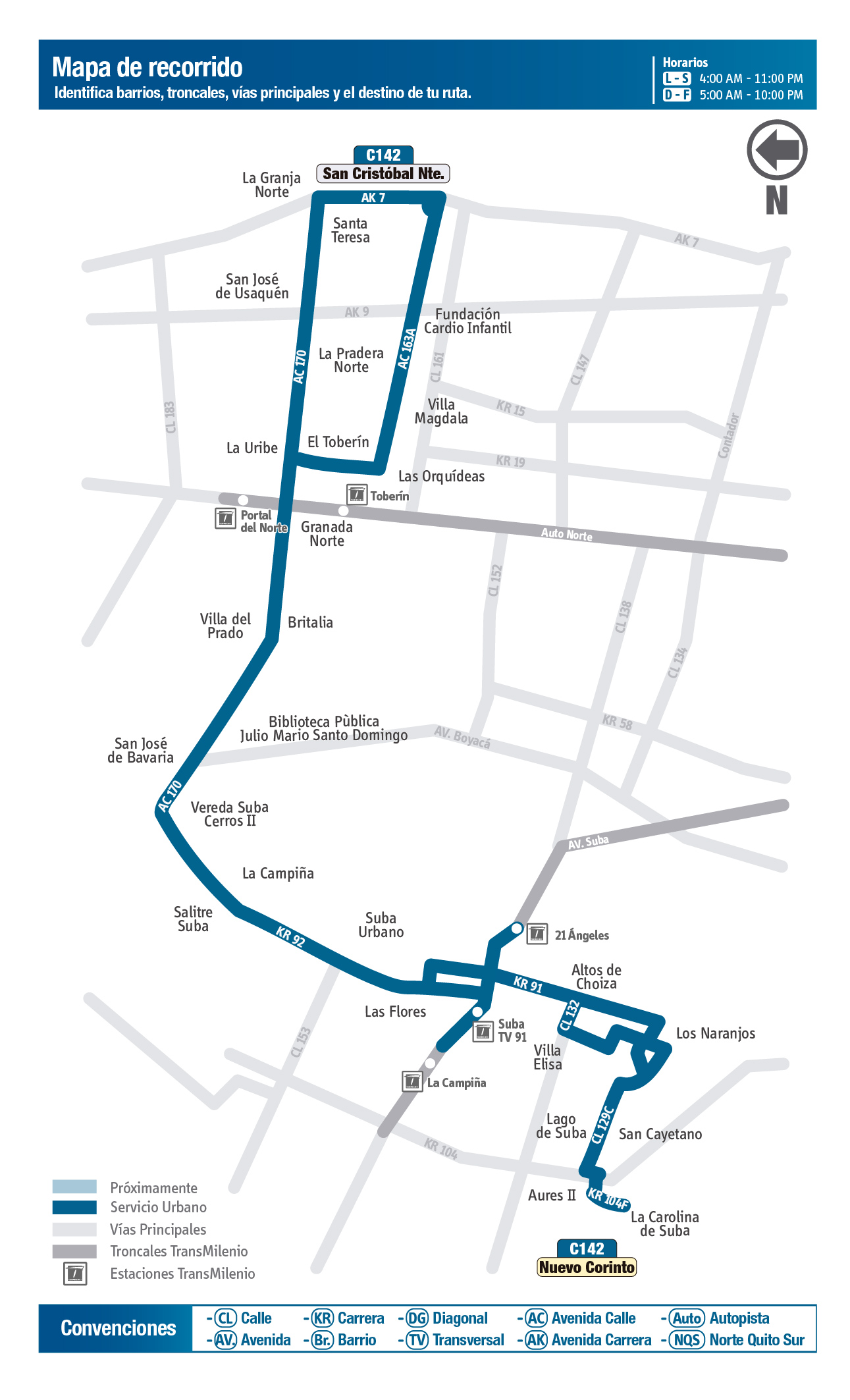 mapa de la ruta C142 del SITP