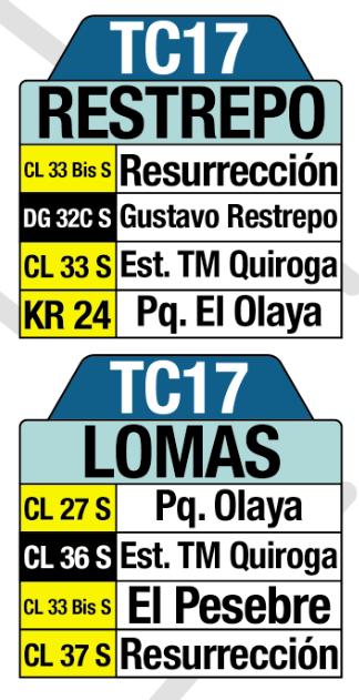 Tabla de la Ruta TC17 SITP