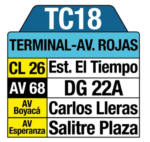 Tabla de la Ruta TC18 del SITP