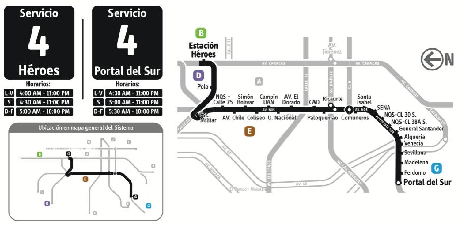 Mapa Ruta 4 Transmilenio