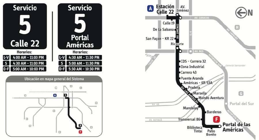 Mapa Ruta 5 Transmilenio